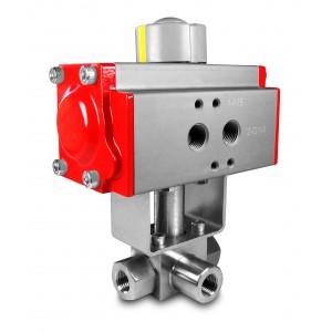 Visokotlačni 3-smjerni kuglasti ventil 1 inč SS304 HB23 s pneumatskim aktuatorom AT75