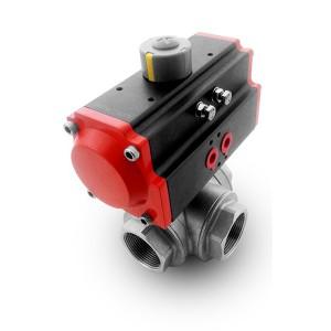 Trosmjerni kuglični ventil od nehrđajućeg čelika 2 inča DN50 s pneumatskim aktuatorom AT75