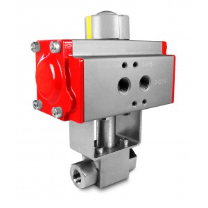Kuglični ventil visokog tlaka 1/4 inča SS304 HB22 s pneumatskim aktuatorom AT40