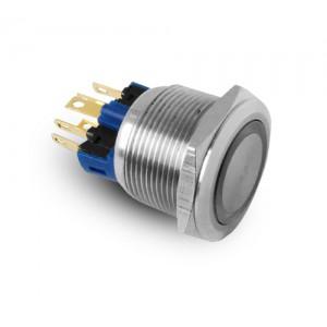 Gumb 22mm od nehrđajućeg čelika IP65 LED 230V ili 24V plavi trenutno