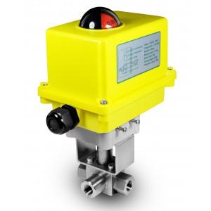 Visokotlačni 3-kraki kuglasti ventil 3/8 inča SS304 HB23 s električnim aktuatorom A250