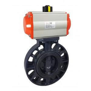 Leptir ventil, prigušnica DN80 UPVC s pneumatskim aktuatorom AT75
