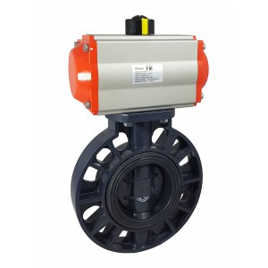 Leptir ventil, prigušnica DN50 UPVC s pneumatskim aktuatorom AT63