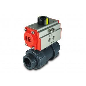 Kuglični ventil UPVC 1 1/4 inča DN32 s pneumatskim aktuatorom AT40