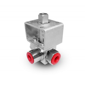 Visokotlačni 3-kraki kuglasti ventil 1/4 inča SS304 HB23 montažna ploča ISO5211