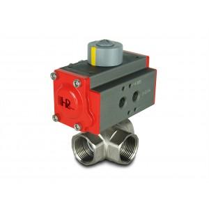 Trosmjerni mesingani kuglični ventil 1 inč DN25 s pneumatskim aktuatorom AT40